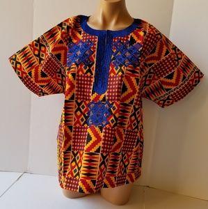 African Kente Print uniTop Sz XL